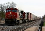 CN 2557 leads a westbound of mostly autoracks
