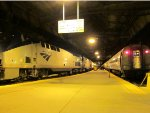 The Capitol Limited and the Pennsylvanian sit in Pittsburgh's Amtrak train shed