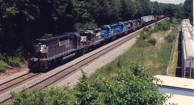 Southbound freight with all kinds of power