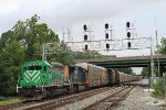 """Q217-14 WB on the Old Main Line with """"Fake Furby"""" CITX 3060 leading"""