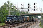 Q217-25 WB with two HLCX SD40-2s and a GEVO