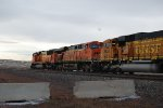 BNSF 5891, and 8890 push a loaded coal train north to donkey creek.
