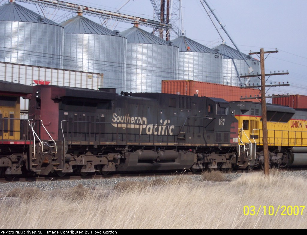 SP 187 westbound on UP covered hopper unit train