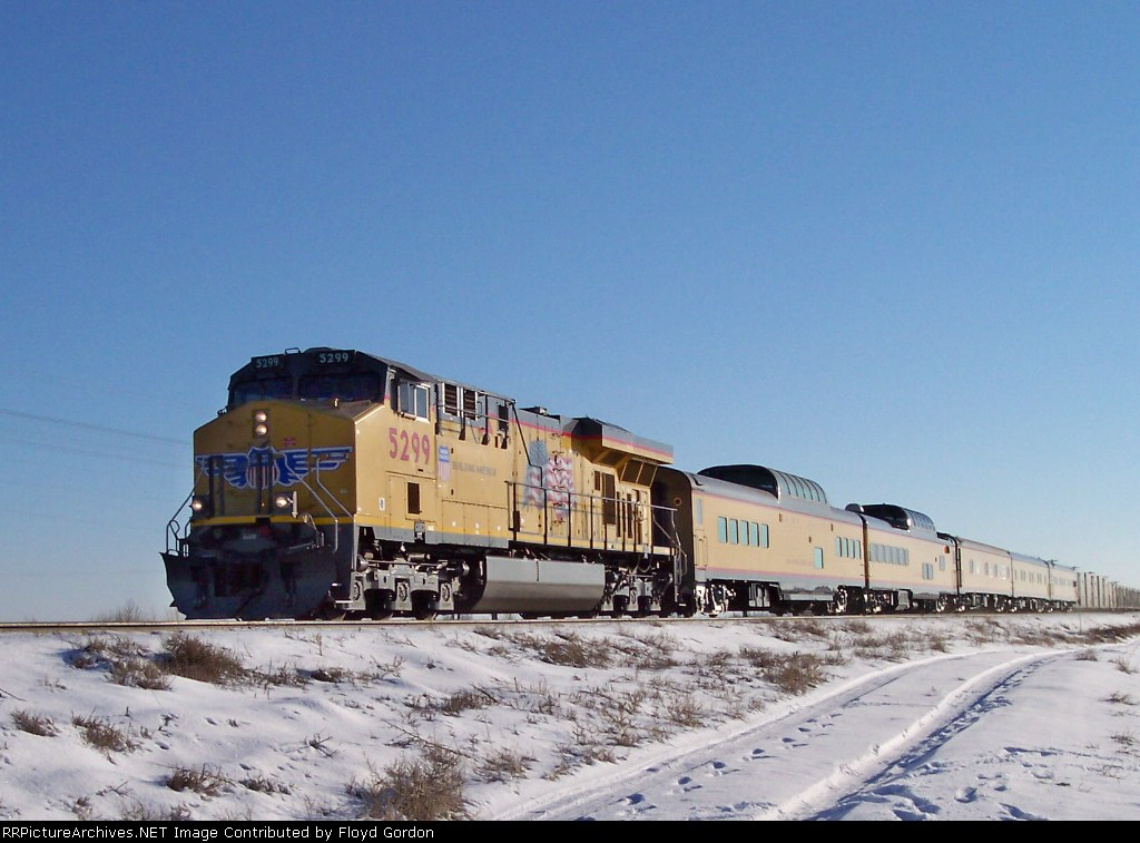 UP 5299 leads UP business train westbound