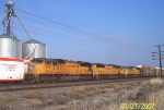 UP 4321 leads eastbound autorack train