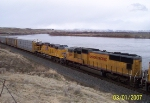 UP 4385, and UP 5520 are trailing units on westbound freight