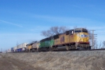 UP 4785 leads a mix of units eastbound