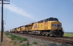 UP 5299 leads westbound covered hopper train