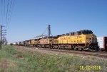 UP 5706 leads eight UP unit loaded grain train