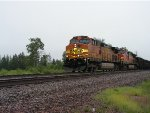 BNSF 5397 West at Sunders Jct. in the rain