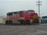 BNSF Power at 17th Street Yard in the rain