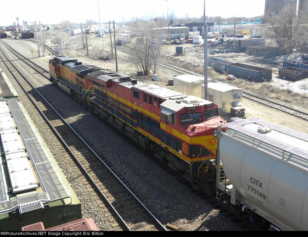 A KCS GEVO on BNSF 4398 South