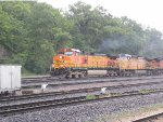 Crew Change, Rain, and a Westbound Grain Train