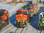 BNSF 7460 South meets BNSF 8623 North and BNSF 2716 Switch Jobat Northtown Yard
