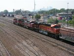 BNSF 6163 East with Downtown Minneapolis Skyline