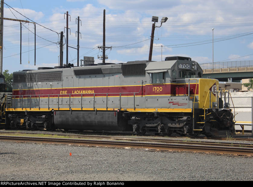 NS 1700, restored to its as delivered Erie Lackawanna scheme, rests at Oak Island yard's service facility
