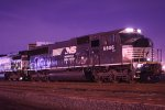 "Ex- Conrail SD60M # 6806 is captured at 4:55AM at Port Newark Yd. Note the Lehigh Valley RR ""flag logo"" etched into the dirt ahead of the ""NS"""