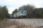 AMTK 180 leads Train 20 out of Tuscaloosa on New Years Eve