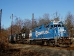 Conrail Blue NS 5277 and 5271 power up a shallow grade as they enter onto the Dayton Branch.