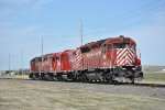 NCRC 5332 (SD45), 4606 (GP9R), 4203 (GP40, & 4201 (GP40) moving slowly towards Oconee from Columbus