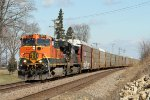 Eastbound BNSF Autorack with an NS Helper