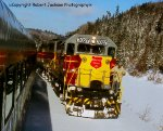"ACR GP40 locomotives reverse ends on the ""Snow Train"""