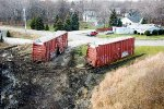 A couple of Boxcars await their fate after the CSX Derailment at CP 128