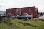 A boxcar awaits its fate after the CSX Derailment at CP 128