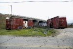 A couple of boxcars cars await their fate after the CSX Derailment at CP 128