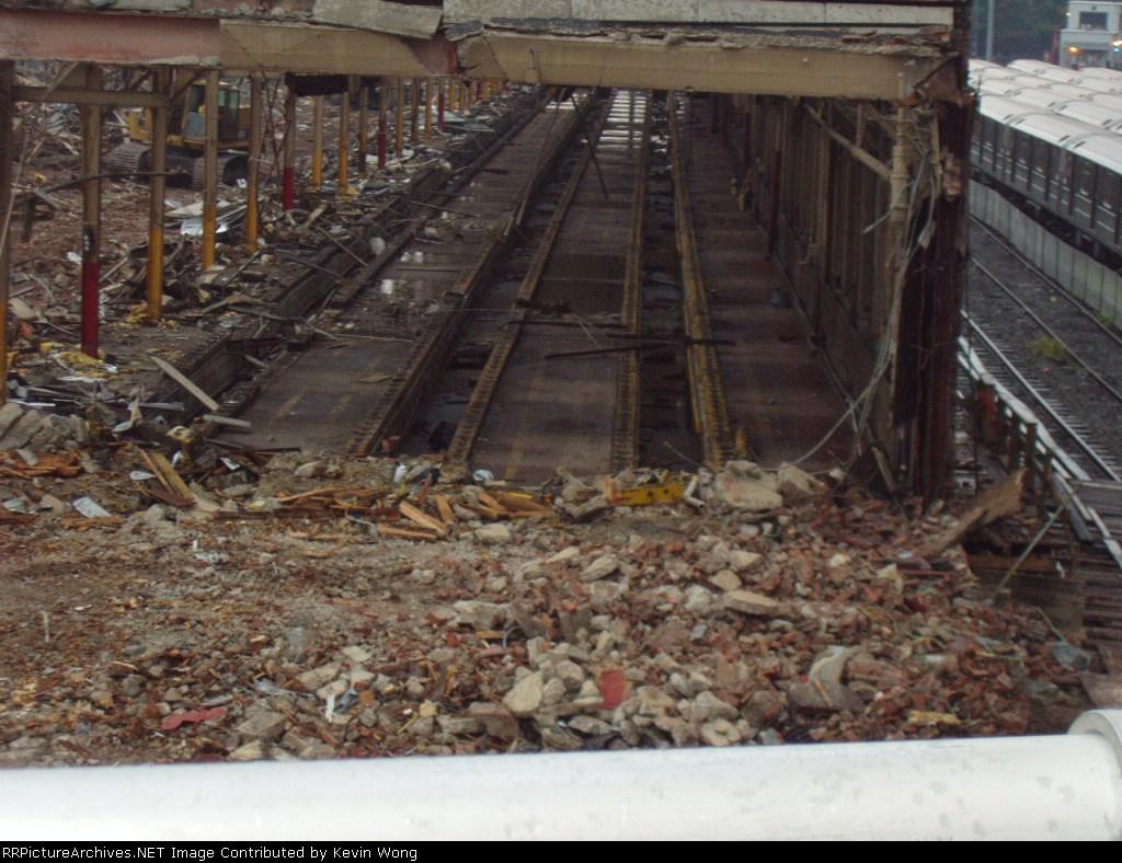 Service bays and tracks inside former Corona Shop