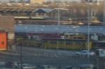 R33 WF car and yellow R33 ML work car at Corona Railroad Yard