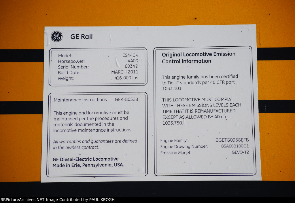 BNSF 6672 GE Data Plate.
