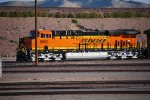BNSF 6662 sits at the west end of BNSF Barstow Locomotive Works with the sun Gleeming off her BNSF Brand New Swoosh Logo Paint.