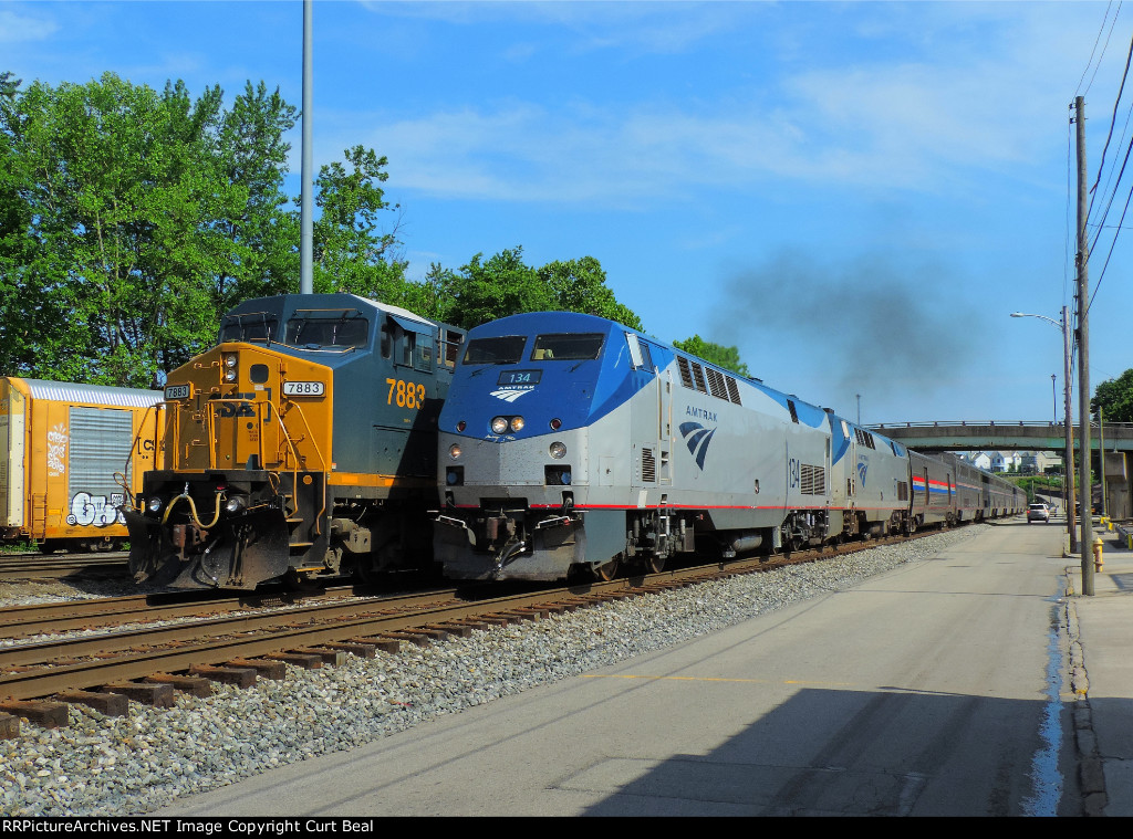 Amtrak 134 and 67 passing CSX 7883