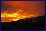 UP Westbound and flame red sunset