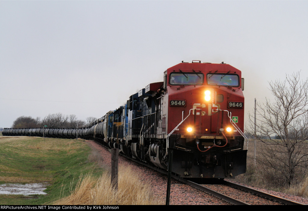 Eastbound CP Loaded Ethanol about to Enter the Siding
