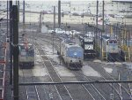 Amtrak 934, 195, 574, and NS 3029 at 30th Street Station