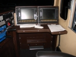 Engineer's dual computer screens, interior of ES44DC # 5220