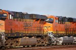 BNSF 6677 Highballs east into the Rising Sun as it reflects off her Brand New BNSF Swoosh Logo Paint!!!!