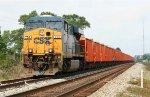 CSX 786 with ballast train in the siding