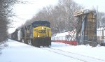 CSX 300 heads east past MP50 with 57 cars of mixed freight @ 8:27