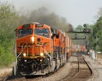 BNSF 7407 CHUGGING towards Argentine