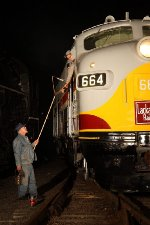 Hooping up orders to the engineer on Lackawanna 664