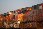 BNSF 6677 heads eastbound into the Rising California Sunrise as a #2 unit.