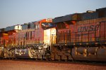 BNSF 6677 Really Reflects the Sun's Rays on Her Very Brand New BNSF Swoosh Logo Paint as she slows down for a crew change at BNSF Barstow yard.