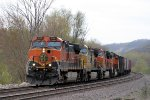 Eastbound BNSF Grain with One Very Faded and Unusual 2nd Engine