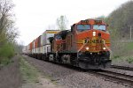Eastbound BNSF Stack with a nice Wave from the Cab