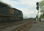 CSX 597 & 563 / L420? pass the 9-1E / 9-2E signals and begin crossing the Castleton-On-Hudson Bridge on it's way east
