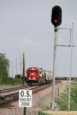 Westbound CP Freight Waits at the Siding Signal for the Trailing CSX to Pass
