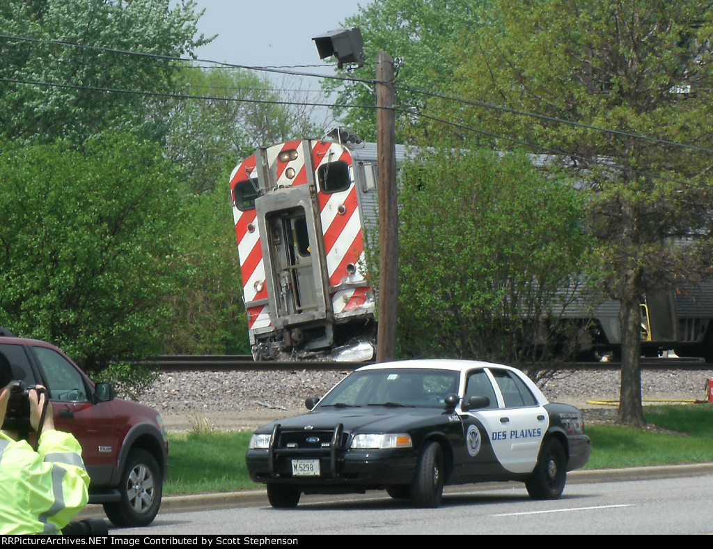 Cab Car forward operation for inbound train to Chicago. This is the Cab Car that struck the truck carrying concrete. 20 plus people transported to hospital for further examination.